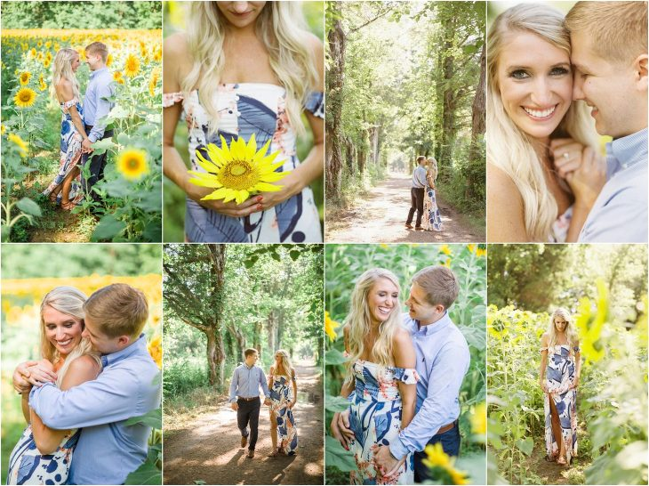 Sunflower Field Engagement Photos Knoxville