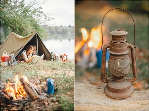 camping engagement picture