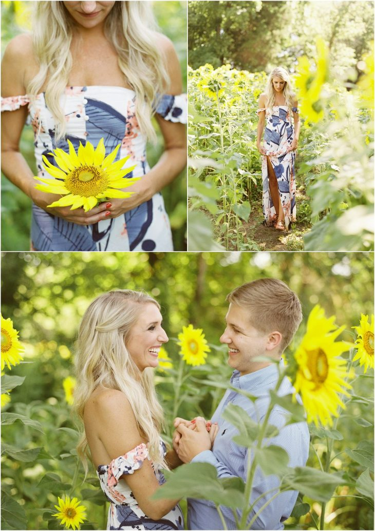 knoxville sunflower field engagement photos