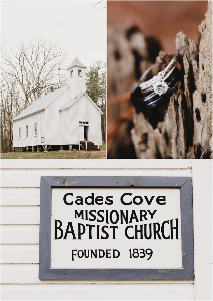 Cades Cove wedding at the Missionary Baptist Church